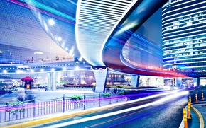 Wallpaper street lights, traffic, high, movement, road, Night city, people, the city, lights, street, night, signs, ...