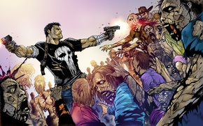 Picture zombies, crossover, the Punisher, The Walking Dead, The walking dead, punisher, Frank Castle