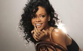 Picture girl, actress, brunette, chair, singer, Rihanna, tattoo, Rihanna, curls