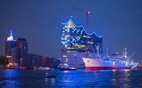 Picture the sky, night, lights, ship, home, crane, port