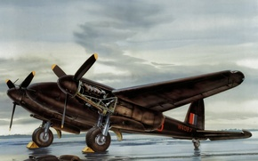 Picture war, art, painting, aviation, ww2, De Havilland Mosquito