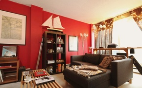 Picture style, table, room, sofa, furniture, interior, boat, ISIN, red wall