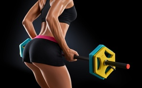 Picture yellow, workout, fitness, weight, dumbbell bar