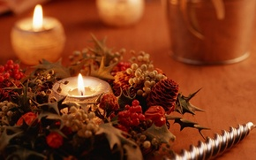 Picture holiday, picture, decoration, Christmas, heat, Wallpaper, new year, mood, candle, photo, fire