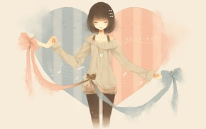 Picture tape, notes, heart, anime, art, girl, bow, msica