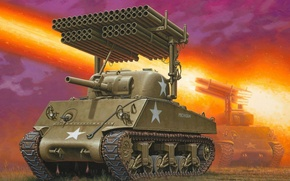 Picture fire, art, tank, American, installation, for, average, Sherman, T34, sherman, WW2., leads, launcher, M4A3, developed, …