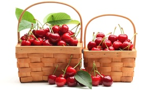 Picture berries, red, cherry, baskets