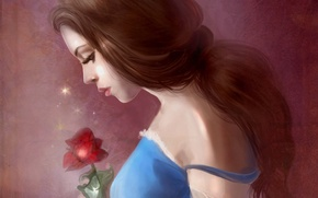 Picture girl, hair, rose, dress, profile, beauty and the beast, Belle, beauty and the beast