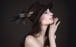 Picture girl, background, hat