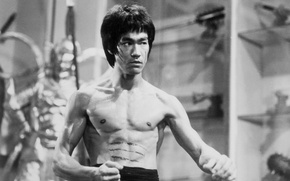 Picture photo, body, actor, legend, Bruce Lee, bruce lee, black and white Wallpaper, grey
