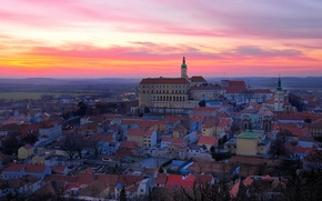 Picture sunset, the city, the evening, Czech Republic, Czech republic mikulov castle