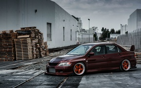 Picture turbo, wheels, mitsubishi, japan, jdm, tuning, lancer, evolution, evo, front, face, low, stance