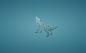 Wallpaper dog, animal, minimalism, blue background, howling, wolf