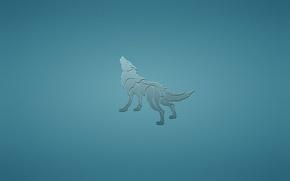 Wallpaper animal, wolf, dog, minimalism, blue background, howling