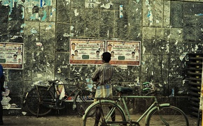 Picture wall, wanted, bike, man