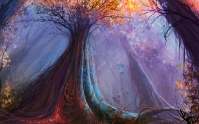 Picture forest, color, trees, art, by cloudminedesign, giant strongwood