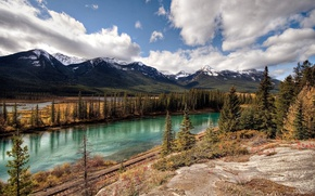 Wallpaper road, trees, mountains, river, Clouds