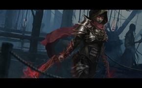 Picture woman, hood, diablo 3, demon hunter, crossbow