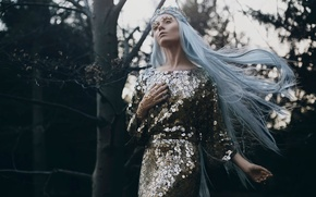 Picture forest, girl, hair, Bella Kotak