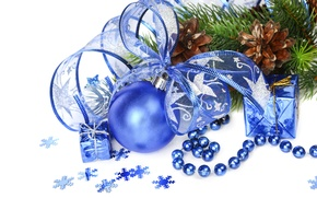 Picture decoration, balls, New Year, Christmas, Christmas, blue, New Year, decoration