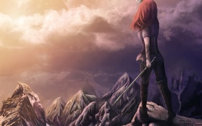Picture girl, clouds, sunset, mountains, fiction, magic, sword, fantasy, red