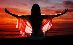 Picture girl, sunset, meditation