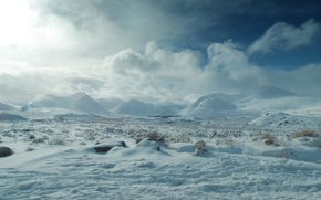 Picture clouds, snow, mountains, Winter, frost, nature, winter, clouds, mountain, snow, frost