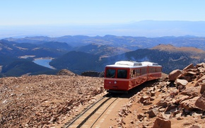 Picture landscape, mountains, train
