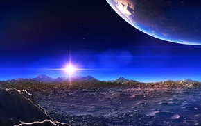 Picture the sky, rays, light, mountains, star, planet, satellite