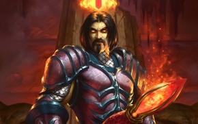 Wallpaper armor, crown, art, male, staff, WoW, World of Warcraft, Hearthstone, Blackrock Mountain, Nefarian, Nefarian