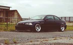 Picture car, rain, overcast, tuning, bmw, BMW, black, drives, tuning, stance, e46
