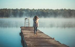 Picture summer, girl, fog, lake, morning, back, Omsk, nevidela, photographer Laverov Andrew, the girl on the …