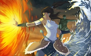 Picture water, girl, flame, element, art, Avatar, The legend of Korra, Idriu95