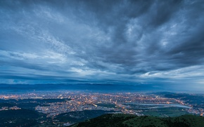 Picture the sky, clouds, the city, lights, fog, Strait, view, height, the evening, lighting, panorama, China, …