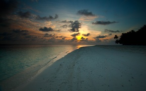 Wallpaper sand, water, the sun, clouds, trees, Palma, palm trees, tree, shore, coast, landscapes, the evening, ...
