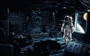 Picture room, astronaut, the suit, costume, Time Traveler