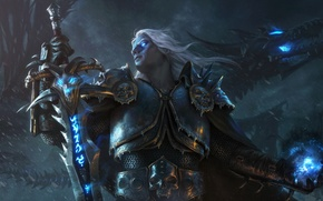 Wallpaper by Samarskiy, Sindragosa, magic, art, death knight, Arthas Menethil, art, sword, undead, armor, Lich King, ...