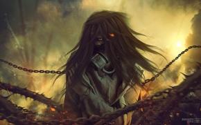Wallpaper look, chain, eyes, trees, dark world, renunciation, Denial, girl, branches, gas mask