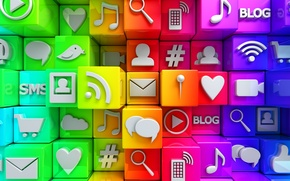 Picture cubes, colorful, Internet, icons, cubes, icons, social network, media, social