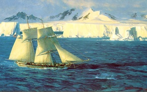 Picture ice, sea, the sky, ship, sailboat, picture, North, Blossom Christopher, asberg