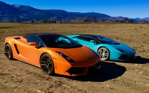 Picture field, the sky, mountains, nature, earth, Orange, Gallardo, lamborghini, blue, aventador, Lamborghini