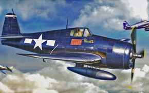 Picture war, art, airplane, painting, ww2, F6F-3-5 Hellcat