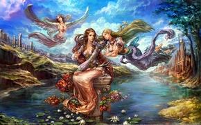 Picture flowers, pond, girls, elf, wings, fairy, Lotus, forsaken world