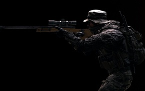 Picture weapons, background, soldiers, rifle, equipment, sniper, Battlefield 4