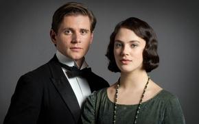 Picture the series, actors, drama, Downton Abbey, Sybil Crawley, Jessica Brown Findlay, Allen Leech, Tom Branson
