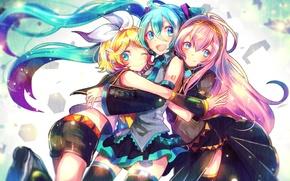 Picture girls, together, figure, hugs, vocaloid, hatsune miku, megurine luka, kagamine rin, sazanami shione