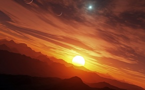 Wallpaper the sun, sunset, mountains, star, planet, sunset, mountains, stars, sun, planets