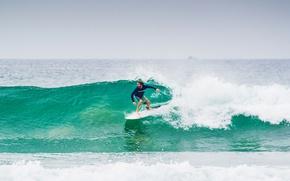 Picture waves, sky, sea, ocean, seascape, surfing, surf, surfer, horizon, foam, boat, surfboard, fisher boat