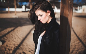 Picture sand, girl, model, portrait, brunette, jacket, yard, shadows, light, the beauty, beauty, mood, bokeh, hair, …