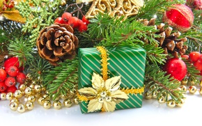 Picture gift, toys, tree, spruce, branch, New Year, Christmas, beads, bump, Christmas, New Year